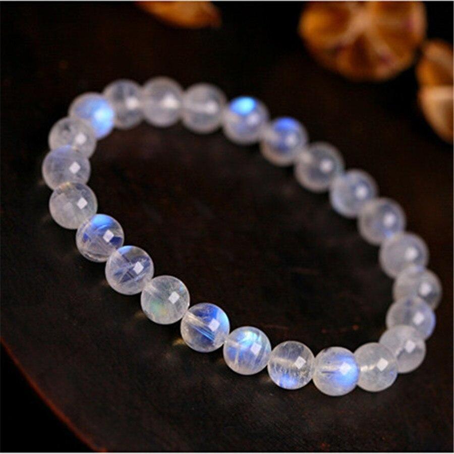 6mm véritable pierre de lune naturelle bleu lumières Bracelet extensible pour Femme charme extensible Transparent perle ronde Bracelet en cristal