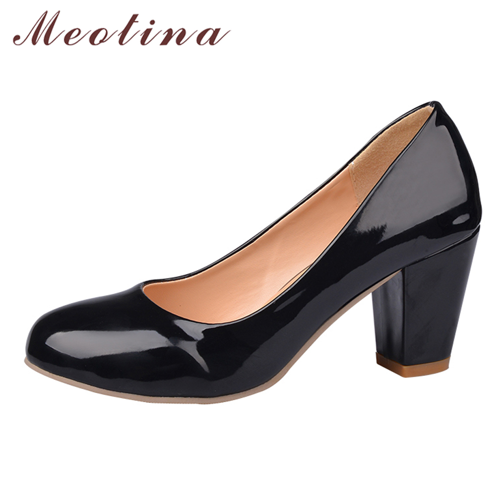 Meotina Automne Femmes Chaussures En Cuir Verni Haute Talons Chunky Talons Chaussures blanc Office Lady Robe Pompes Dames Chaussures Grande Taille 9 10