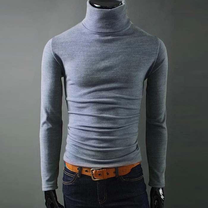 Men Winter Solid Turtleneck Sweater Male Autumn high collar Pullovers Thin and Soft Casual sweater Size 2XL