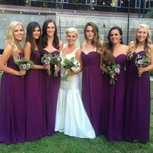 Purple Long Bridesmaid Dress off the shoulder Sweetheart Floor Length Chiffon Women Dress For Bridesmaid