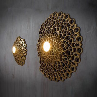 IKVVT Модер Творческий смолы настенные светильники Книги по искусству деко белый/Золотой светодиодный вафельная настенный светильник лобби