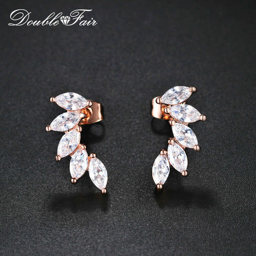 Double Fair Tree Leaf Stud Earrings Rose Gold Color Fashion Zircon Crystal Jewelry For Women Statement Jewelry For Gift DFKC164M