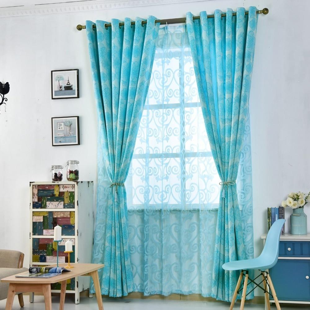 Cortinas Florais Para Sala De Estar Janela Azul Preto Tecidos Para