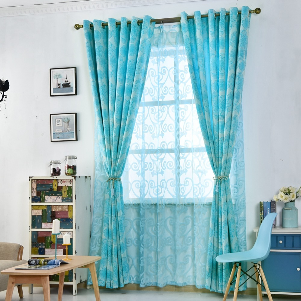 Curtain For Balcony: Floral Curtains For Living Room Window Blue Black Shade