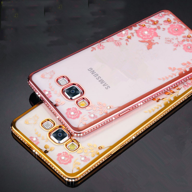 Glitter flora flower For samsung galaxy A5 2015 A7 A500 diamond frame TPU soft Case For samsung galaxy A5 2016 A7 A510 A710 A9
