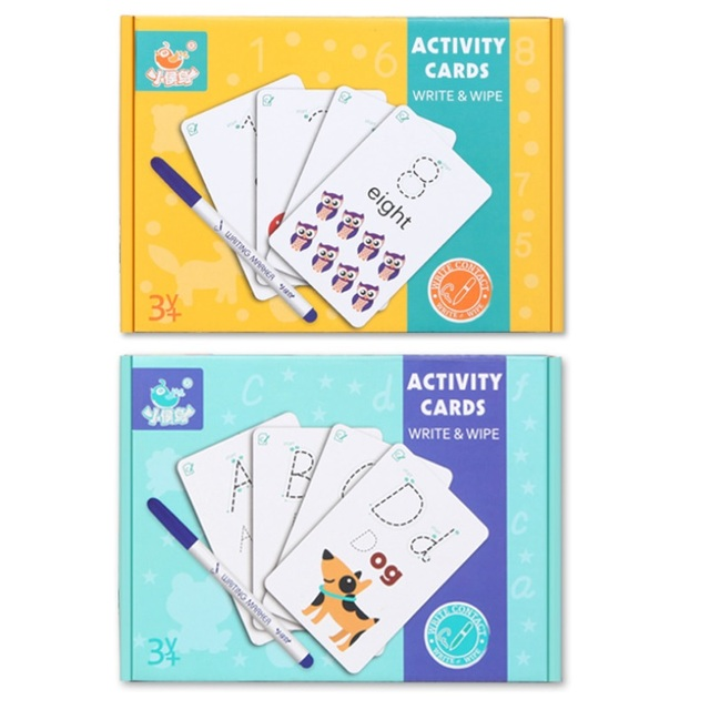 Children Activity Card Write Wipe Learning Educational Toys Alphabet Digit words math Learning Book cards early English Teaching