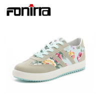 FONIRRA Spring Flower Canvas Sneaker Women Shoes Green Cross Tied Casual Women Shoes Sewing Outdoor Flat