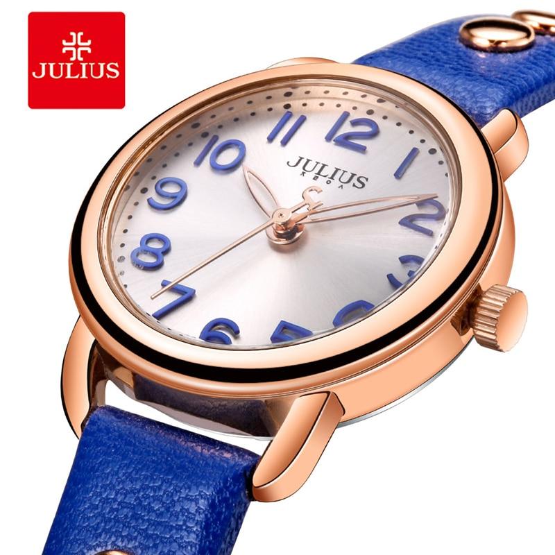 Julius Retro Rivet Leather Watch Woman Classic Blue Round Digital Dial Quartz Dress Wrist Watches Fashion Punk Reloj Mujer Gift цена