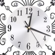 35cm Luxury Diamond Wall Clocks 3D DIY Modern Rustic Rhinestone Home Wall Clock Home Decor Living Room Art Wall Watch Wedding