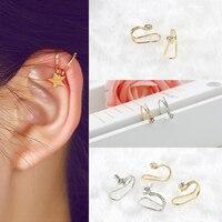 1 pièce mode cristal étoile croix ronde manchette pince boucles d'oreilles pour femmes charmant chaud Non Piercing Cartilage oreille bijoux cadeaux