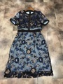New women 's heavy embroidery short - sleeved dress