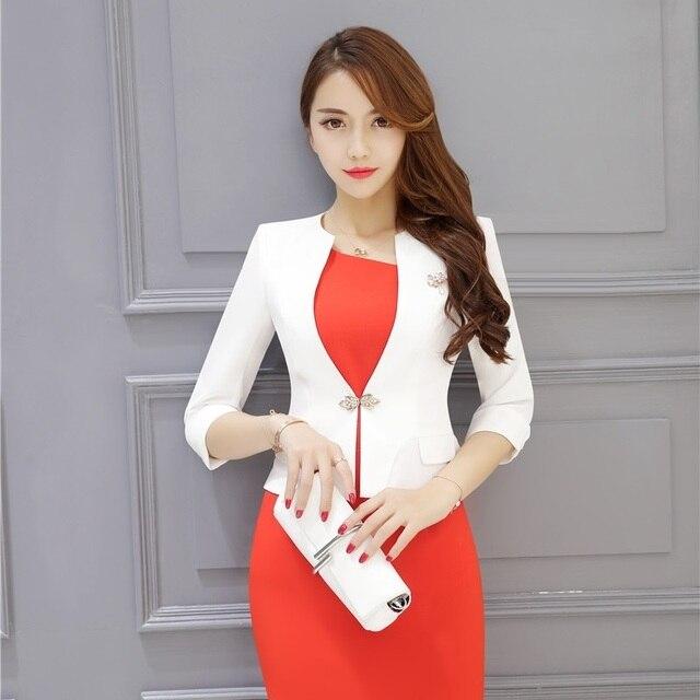 Moda formal mujer blanco Blazers mujeres Trabajo desgaste Chaquetas media  manga delgada elegante las señoras ropa 38709223847f3