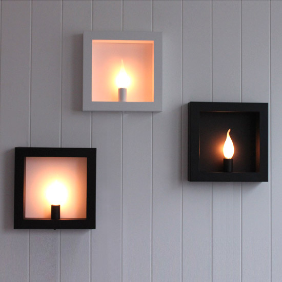 Fashion Led Wall Lamp Modern Candle Holder Iron Personalized Bedside Inner Outer Square Light Candlesticks Red Black In Indoor Lamps From