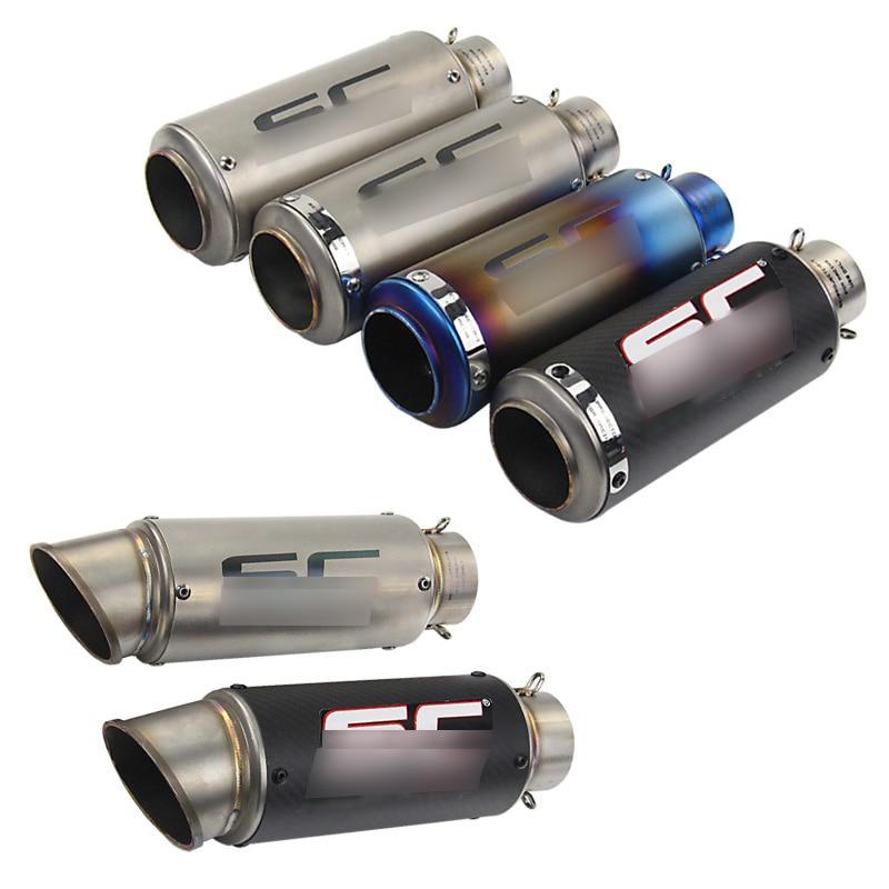 Silencieux d'échappement moto GP échappement silencieux d'échappement en Fiber de carbone tuyau d'échappement 51mm 61mm
