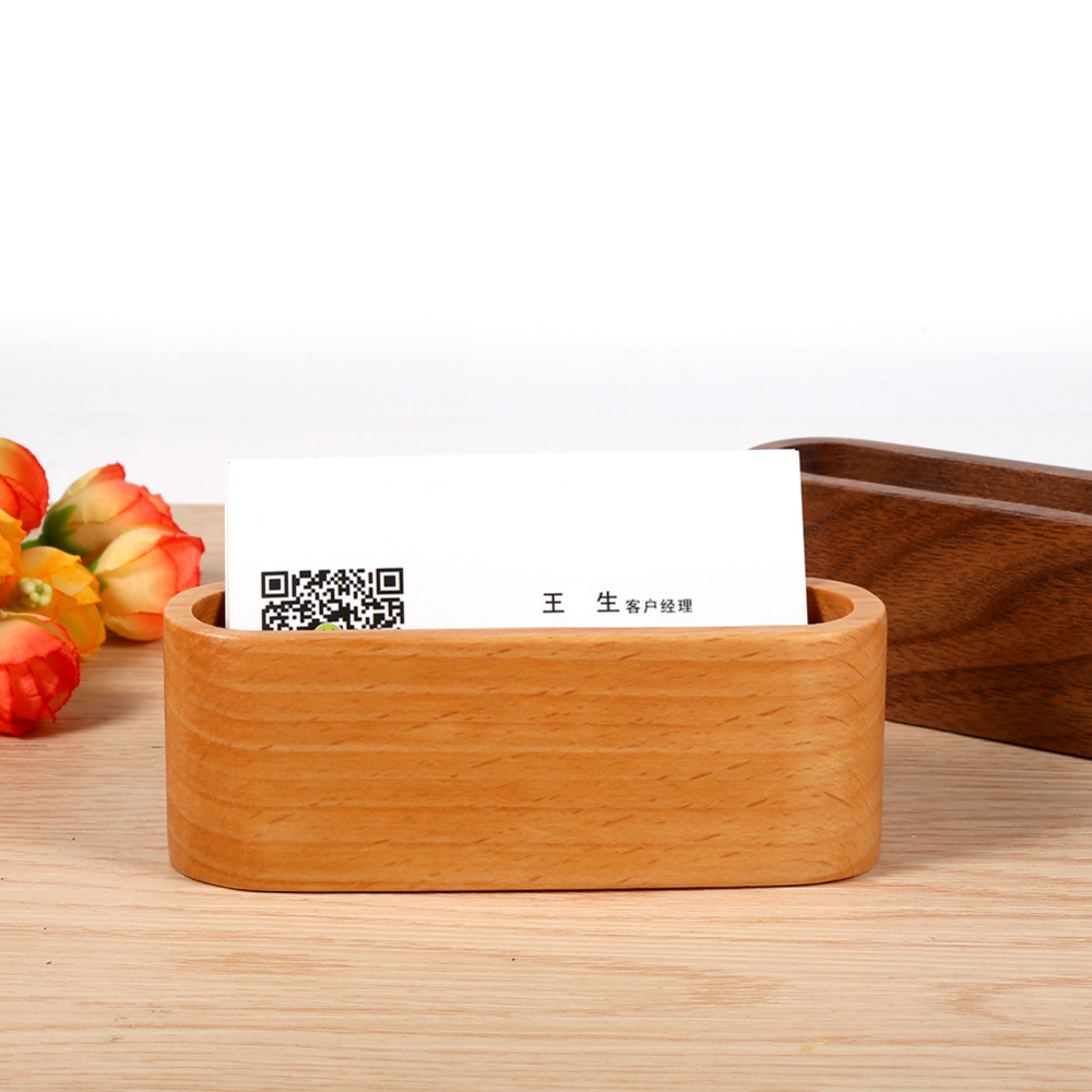 Us 2 88 28 Off Kreative Holz Visitenkartenhalter Fall Speicherkarte Box Organizer Office Desktop Name Karte Ständer Regal Ornamente In Home Office