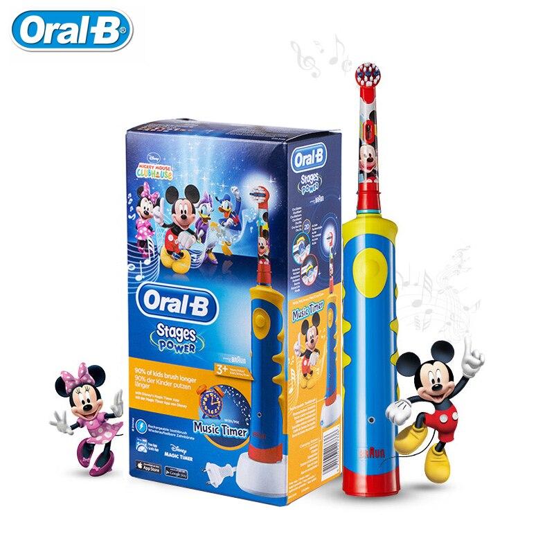Oral B D10 Enfants Brosse À Dents Électrique EB10 Remplaçable brosse têtes Rechargeable brosse à Dents Musique Minuterie pour les Enfants Âgés de 3 + dans Brosses À Dents électriques de Appareils ménagers