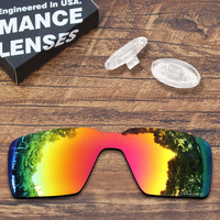 ToughAsNails Resist Seawater Corrosion Fire Red Mirrored Polarized Replacement Lens and Clear Nose Pads for Oakley Probation