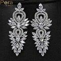 Bohemian Style Swiss Cubic Zirconia Stone Long Big Dangling Luxury Bridal Wedding Earrings Jewelry Accessories For Women E115