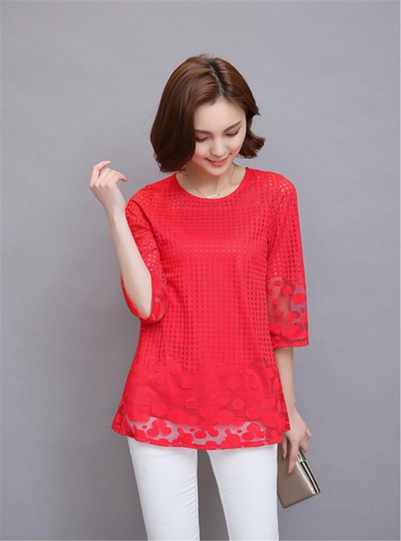 Plus Size 4XL 5XL 6XL  Luxury Lace O Neck  Women Blouse Shirt Noble Long Mesh sleeve Shirt Blouse Vintage tops Blusas Femininas (43)
