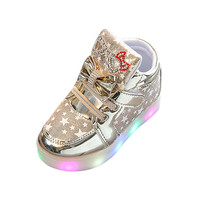 Baby Fashion Sneakers Star Luminous Child Casual Colorful Light Shoes Boys Girls Cool Leather LED Comfortable