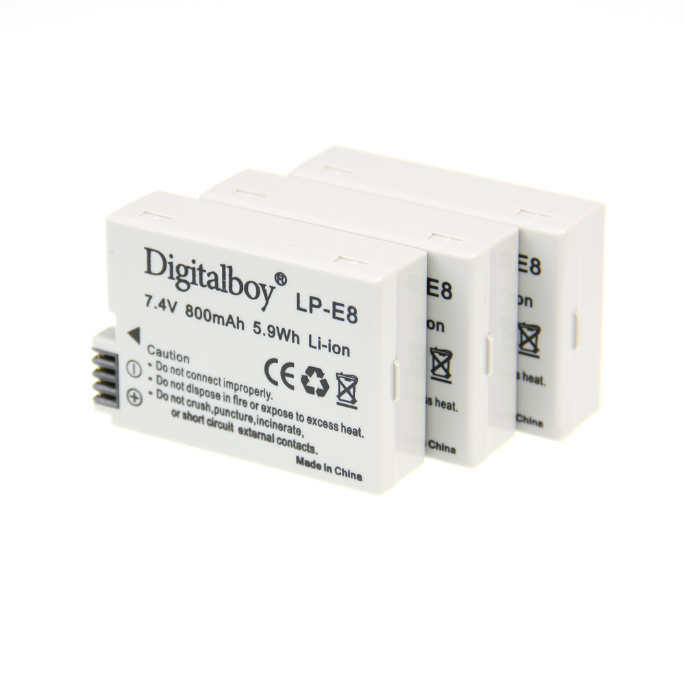 Hot Sale 3pcs Battery LP-E8 LP E8  LP E8   Rechargeable Camera Battery For Canon 550D 600D Rebel T2i EOS Kiss X4