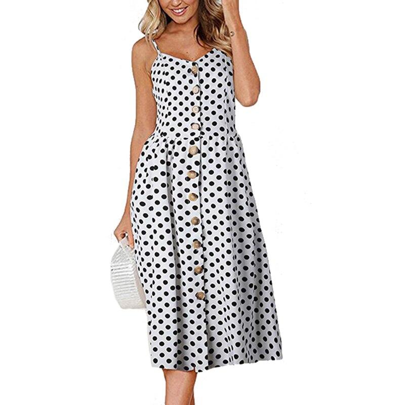 Sleeveless Spaghetti Strap Sexy Women Dress Vintage Polka Dot Summer Dresses 2019 Female Beach Sundress Bohemian Midi Robe LX020 polka dot