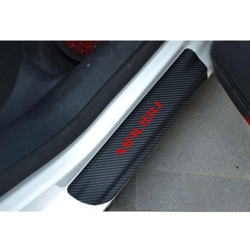 Placa de desgaste Coche Fibra De Carbono Cubierta De Pedal alféizar de la Puerta Panel Paso proteger Protector Mat