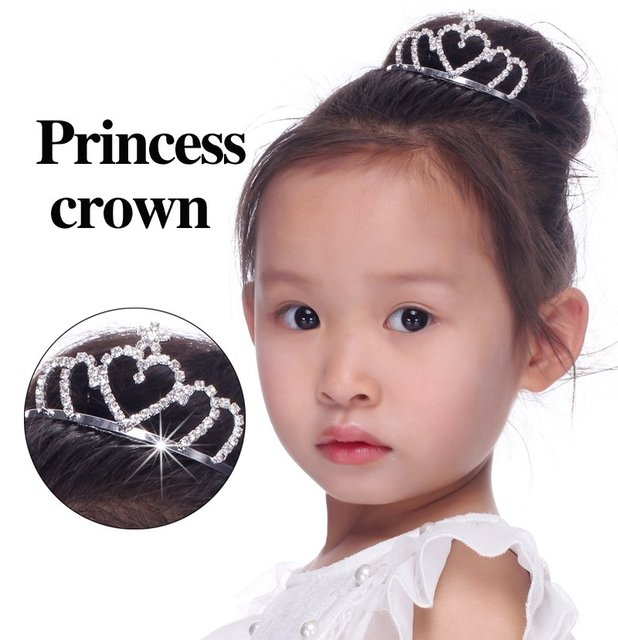 Free Shipping 6 pcs/lots Crystal children's tiara crown rhinestone Children Birthday Crystal  Princess crown headwear hot sale