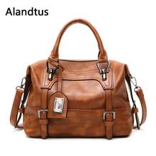 Alandtus Women Shoulder Bag Vintage Handbag Soft Pu Leather Crossbody Bags For 2019 Casual Totes Ladies Messenger