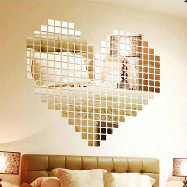 Amazing 100pcs/lot  Acrylic 3D Wall Sticker Mirror Effect TV Wall Home Decor DIY mirror wall sticker Decor Drop shipping