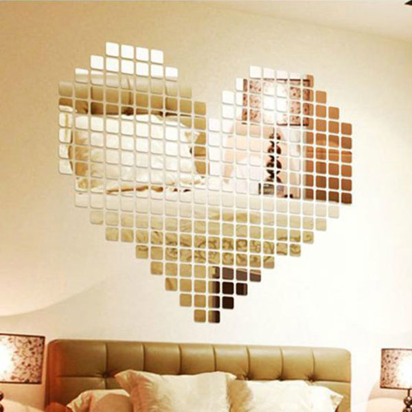 Amazing 100pcs / lot Akryl 3D Wall Sticker Speil Effekt TV Wall Home Decor DIY speil vegg klistremerke Dekor Drop shipping