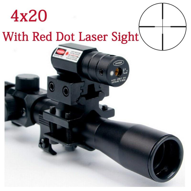 4x20 Air Gun Rifle Optics Scope Tifical Tifical Riflescope with Red Dot Sight Sight and 11mm Mount Rails 22 Gun Hunter Guns