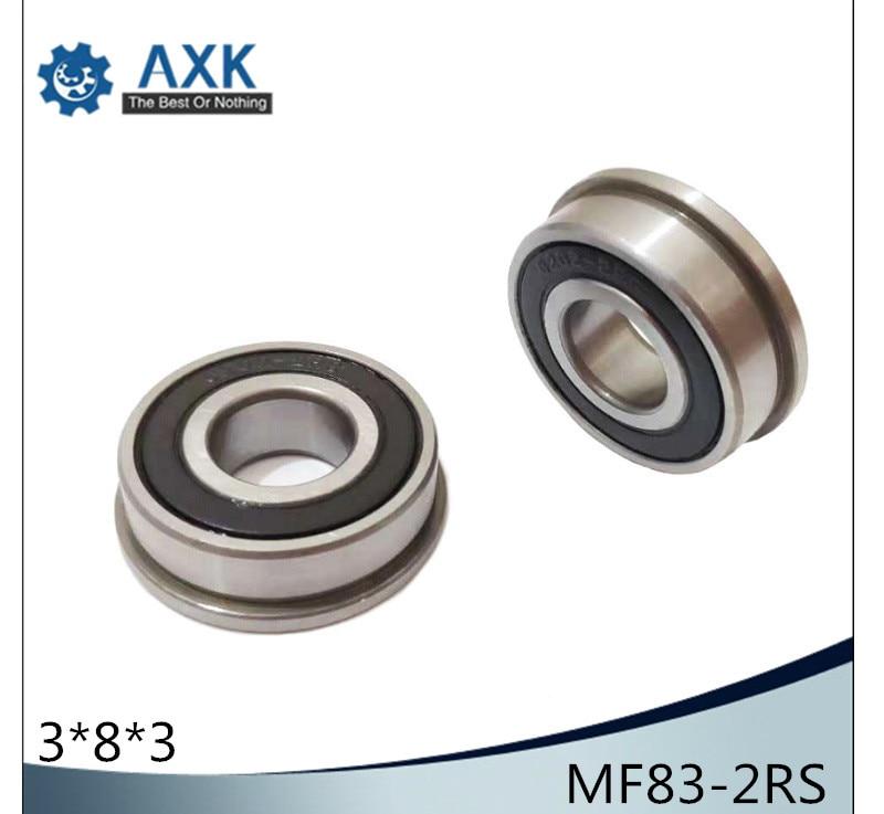 MF83-2RS Bearing 3x8x3mm ( 10 PCS ) ABEC-1 Miniature Flanged MF83RS Ball Bearings RF-830DD