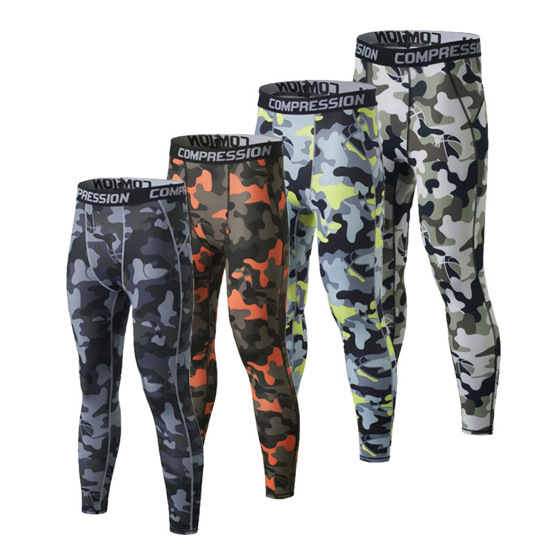 New Mens Compression Pants Crossfit Camouflage Tights Trousers Man Lifting Bodybuilding Pants Joggers Men Base Layer Sport Pants
