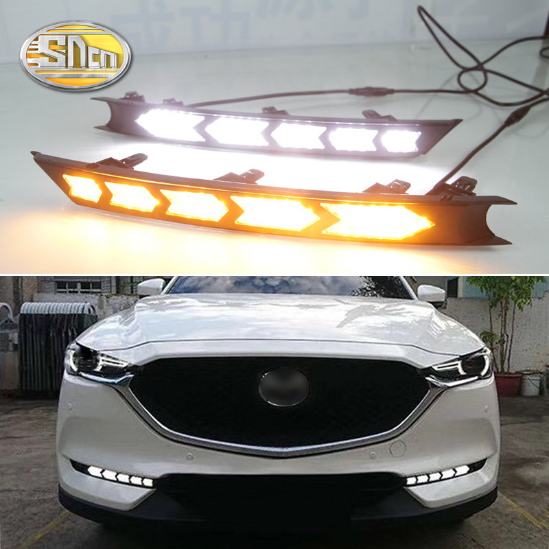 LED Daytime Running Lights For Mazda CX 5 CX5 2017 2018 drl fog lamp 12V ABS DRL Driving lights with turn signals
