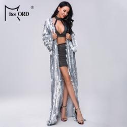 Missord 2020 Women Summer Sexy Multi Sequin Female Long Sleeve Maxi Beachwear Reflective  Dress  FT20019-2