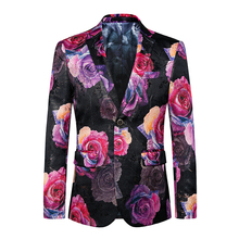 Casual Floral Mens Blazer 2017 Autumn New Fashion Jackets Men Slim Fit Male Asian Size 6XL Costume