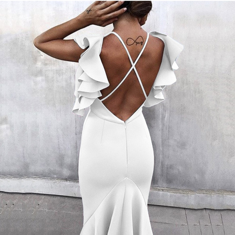 Celebrity Party Dress Summer Women Dress Vestidos Verano White Butterfly Sleeveless Backless Mermaid Pencil Dresses