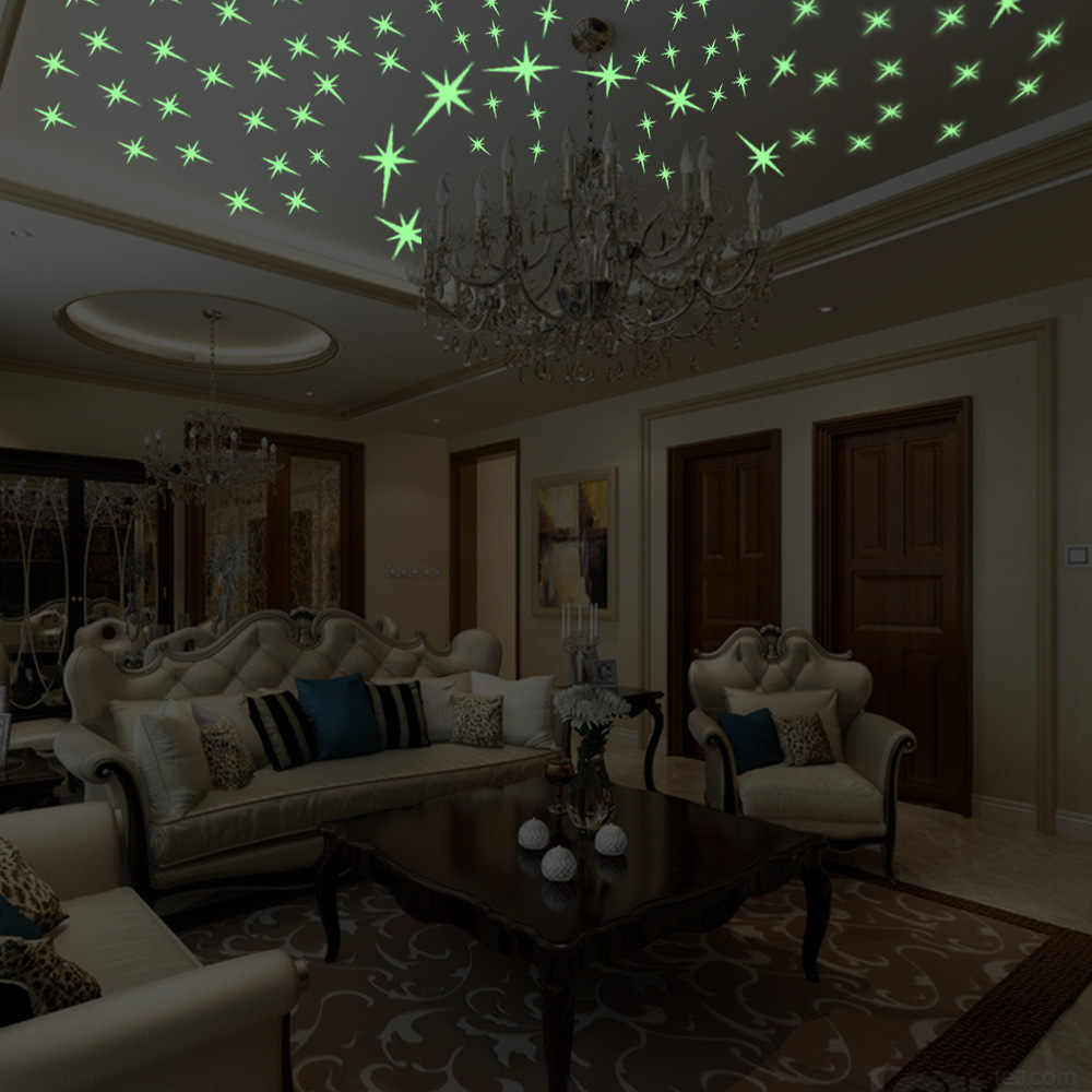 Творческий Люминесцентные наклейки мультфильм звезды стены Glow Темный Световой Вставить Потолочный Гостиная Спальня украшения дома
