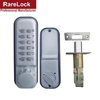 Rarelock Satin Nickel Mechanical Combination Lock Numeral Flat Office Digital All Weather Keyless Deadbolt Door Lock