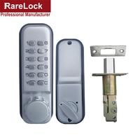 Rarelock Satin Nickel Mechanical Combination Lock Numeral Flat Office Digital All Weather Keyless Deadbolt Door Lock