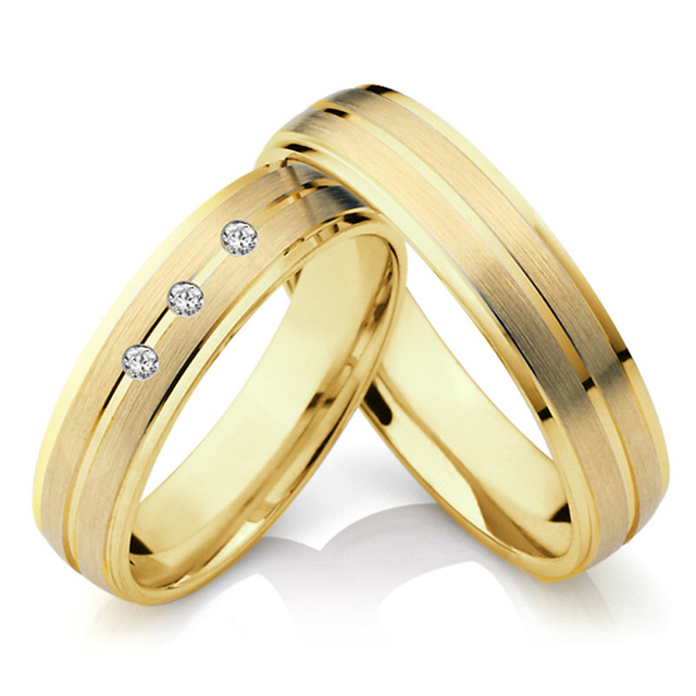 Jewelry Alliances Couples Ring for Men Yellow Gold Color Wedding band promise Anniversary engagement rings for women