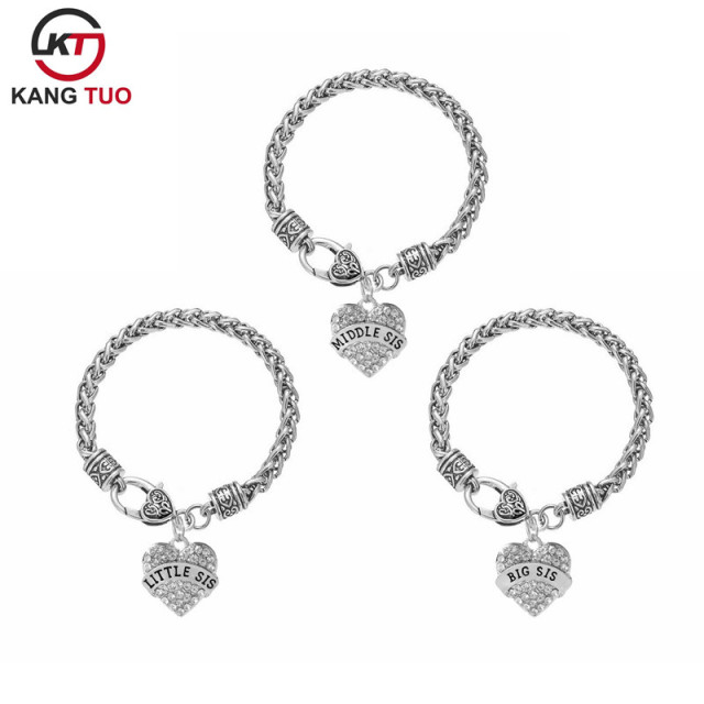 Best Sister Bracelet Middle Little Alloy Pendant Charms For Gifts 6pcs Lot