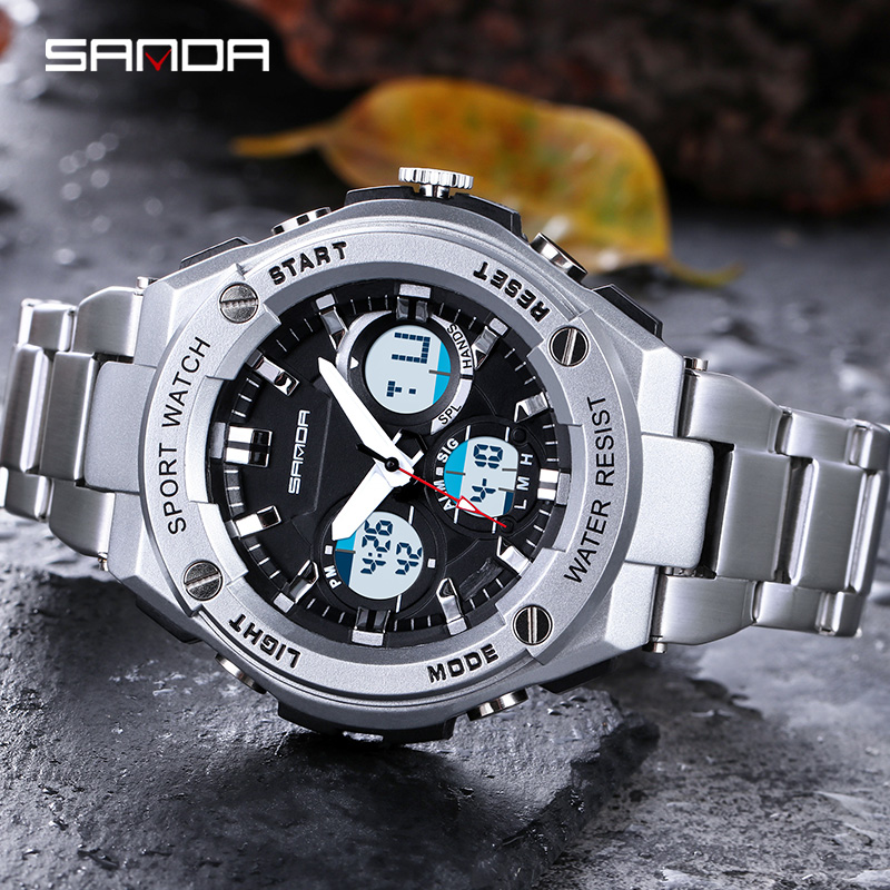 SANDA Military Sports Watches Electronic Mens Watches Top Brand Luxury Male Clock Waterproof LED Digital Watch Relogio Masculino in Digital Watches from Watches