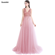 Купить с кэшбэком Suosikki V Neck Sparkly Evening Dress 2018 Backless Evening Party Dress Elegant Sexy See Through Vestido de Festa robe longue