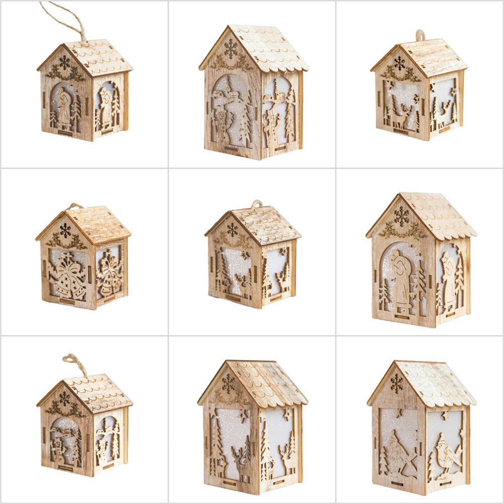 Christmas Tree Ornaments with LED Lights Wood House Pendant for Home Luminous Cabins Gift Wall Hanging Christmas Decor