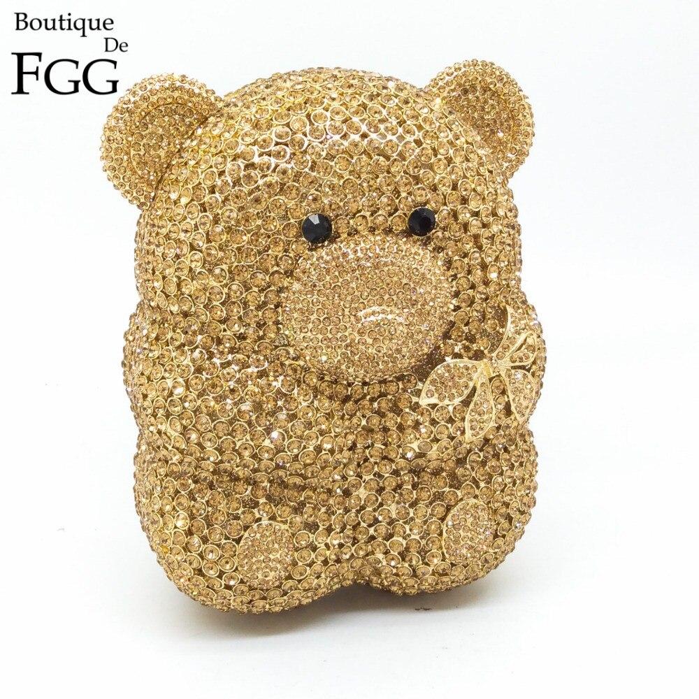 Gift Box Women Cartoon Cute Bear Hollow Out Gold Crystal Evening Bags Metal Hard Case Clutches Rhinestones Handbag Clutch Purse
