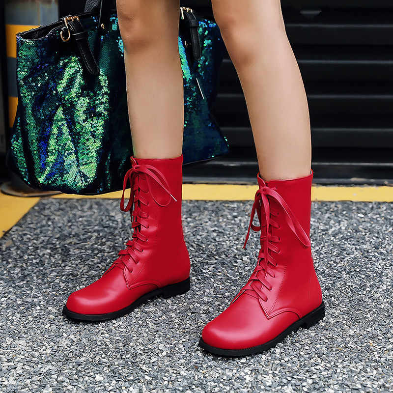 YMECHIC 2018 Winter Boots Women Red Black Yellow College Lace Up Cross Tied Military Ankle Motorcycle Combat Boots Female Shoes