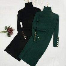 Осенне-зимнее женское вязаное платье с пуговицами, свитер с высоким воротом, платья для девушек, облегающее платье с длинным рукавом, приталенное платье Vestidos 1470