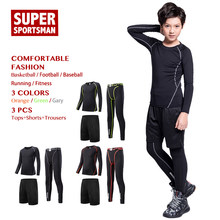 Kids Boy Running Tracksuit Sport Gym Clothing Men Fitness Tights Children Basketball Compression Set Training Jogging Suits 2pcs(China)